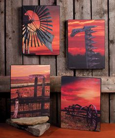 Look what I found on Sunset Farm Canvas - Set of Four by Ohio Wholesale, Inc. Stencil Painting, Acrylic Painting Canvas, Canvas Artwork, Pallet Painting, Farm Paintings, Country Paintings, Mini Paintings, Diy Canvas, Farm Canvas Art