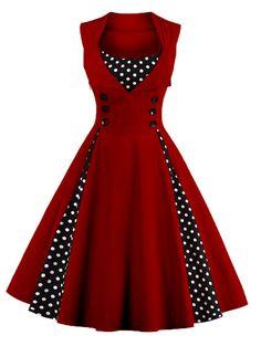 Midi Polka Dot Prom Rockabilly Swing Dress Vintage Prom Dresses - WINE RED 2XL
