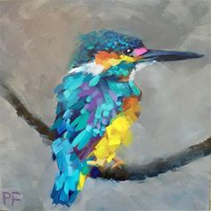 """Daily Paintworks - """"Colorful Kingfisher"""" - Original Fine Art for Sale - © Patti Frasier"""