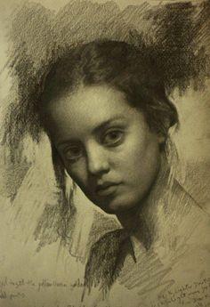 Cuban born artist Cesar Santos (b. 1982), female head portrait study sketch with notes