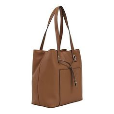George Faux Leather Structured Bucket Bag ($21) ❤ liked on Polyvore featuring bags, handbags, shoulder bags, george handbags, faux leather purses, brown bucket bag, structured handbags and bucket bags