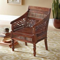 Home Decorators Collection Maharaja Hand-Carved Chair in Walnut-0105900950 - The Home Depot