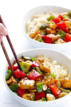 Kung Pao Chicken -- quick and easy to make homemade, plus this version is naturally sweetened with honey   gimmesomeoven.com