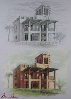 "#графика #пуантель #тушь #отмывка #гуашь #пальмы #архитектура #домик #курорт# graphics #puantel #ink #palm #trees #architecture ""house ""resort"