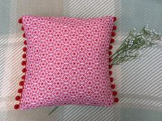 Items similar to Handmade Decorative Cushion - Moroccan Print - Red and White Pattern - PomPom Trim on Etsy Printed Cushions, Decorative Cushions, Hessian Fabric, Moroccan Print, Pom Pom Trim, Handmade Decorations, White Patterns, Bed Pillows, Design Inspiration