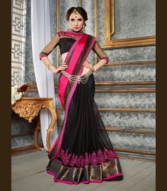 Magenta Faux Chiffon Half and Half Saree With Blouse 68190