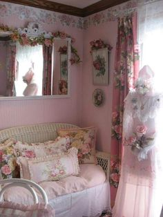 Take the fake flowers away, the wallpaper border, and paint the walls cream or the lightest pink (the hint of pink)and I like it