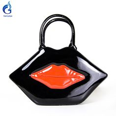 Lips style     Popular Big Lips Pattern Bag Clutch Evening Red PU Leather
