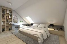 Schlafzimmer von bagua pracownia architektury wnętrz Here are some photos of interior design ideas. Attic Bedroom Small, Attic Bedrooms, Attic Spaces, Attic Bathroom, Loft Room, Bedroom Loft, Home Decor Bedroom, Bedroom Kids, Modern White Bathroom