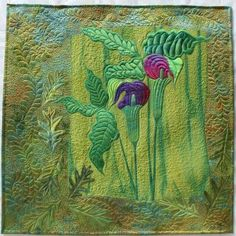"""""""Woodland Secrets"""" art quilt wall hanging by Frieda Anderson."""
