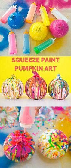 Squeeze Paint Pumpkin Art. Fun and easy no-carve pumpkin idea for kids.