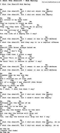 Song I Shot The Sheriff by Bob Marley, with lyrics for vocal performance and accompaniment chords for Ukulele, Guitar Banjo etc.