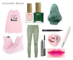 """""""colored denim"""" by small-and-cute on Polyvore featuring Joe's Jeans, Dr. Martens, ncLA, NARS Cosmetics, Marc Jacobs, Medusa's Makeup and MAC Cosmetics"""