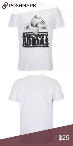 """Adidas Men's Me & My Adidas T-Shirt White Black Adidas Me & My Adidas T-Shirt (Style #S15USTP020 605). Shirt is regular fit rib crew-neck tee with interior taping for durability and comfort. Shirt is white in color with black and white old school Adidas Shelltoes along with the phrase """"Me & My Adidas"""". Pays homage to 80's Rap Group Run DMC. 100% cotton, machine washable. Shirt is authentic Adidas product and comes complete with tags. Adidas Shirts Tees - Short Sleeve"""
