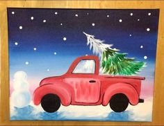 68 Ideas For Christmas Tree Painting Step By Step Burlap Christmas Tree, Christmas Craft Projects, Christmas Tree Painting, Christmas Canvas, Christmas Truck, Christmas Drawing, Christmas Tree Themes, Christmas Art, Christmas Ideas