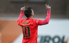 Lionel Messi of FC Barcelona celebrates after scoring during the La Liga match between SD Eibar and FC Barcelona at Ipurua Municipal Stadium on March 14, 2015 in Eibar, Spain.