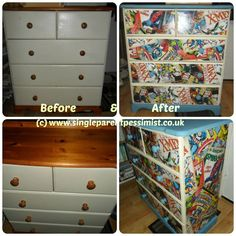 upcycled chest of drawers marvel decoupage - This would be brilliant using something pink for my 13 year old!