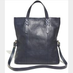 Madewell Dylan Convertible Tote 100% genuine leather bagNavy blue! A few scratches on bottom. A little wear in corners on bottom and a small white spot on bottom left. Not sure if I rubbed against something or what. Bag has adjustable strap and can be carried as tote or folder over like an oversized clutch. Madewell Bags Totes
