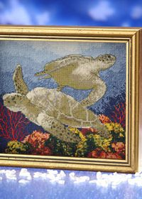 this sea turtle cross stitch would take me 10 forevers to do but looks really stunning Cross Stitching, Cross Stitch Embroidery, Cross Stitch Patterns, Cross Stitch Needles, Cross Stitch Heart, Turtle Quilt, Turtle Crafts, Turtle Painting, Needlepoint