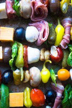 Antipasto Skewers with pickled things | A rainbow of antipasto ingredients threaded on skewers for a quick and healthy appetizer