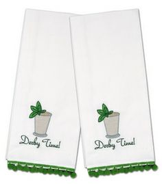 Derby Time! Embroidered Hand Towels Linens & Placemats - KY Derby Party - By Pomegranate Inc at Horse and Hound Gallery
