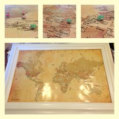 I Glued A Map To Cork Board And Then Framed It We Used Push Pins - Us travel map on cork board