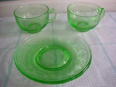 Cups and Saucers Uranium Glass Cloverleaf by TheMintGreenTagSale, $50.00