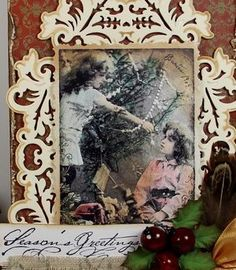 "Hello everyone, On this beautiful Christmas morning I have made a Christmas tag for you. For the tag I used 2 of the stamps from the Stempelglede stampset ""Vintage Christmas"": the vintage image of the two girls and the sentiment. Christmas Morning, Christmas Tag, Vintage Christmas, Beautiful Christmas, Hello Everyone, Vintage Images, Stamps, Van, Projects"