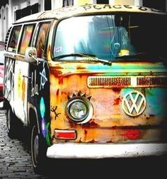 All of my favorite things... rust, patina, multi paints and on the best canvas... VW love for days