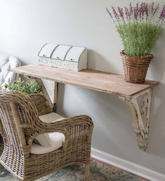 Vintage Farmhouse Decor This super easy DIY Corbel Table adds a ton of farmhouse charm to any space! See how you can easily create this look in three simple steps! Farmhouse Desk, Farmhouse Bedroom Decor, Rustic Farmhouse, Diy Bedroom, Farmhouse Style, Ikea Furniture, Furniture Makeover, Furniture Removal, End Table Makeover
