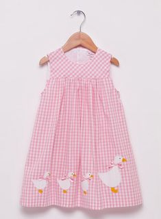 Shop Confiture for Trotters Baby Girls Jemima Duck Pinafore in Blue. Discover more in our Baby Girl's Dress collection for ages newborn 24 months, online from Trotters Childrenswear. Baby Girl Dresses, Baby Dress, Baby Girls, Baby Bundles, Kids Outfits, Baby Outfits, Pink Gingham, Satin Bows, Smock Dress