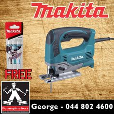 Become the Makita Specialist, with these wonderful deals, such as Makita 650Watt Jigsaw JV0600K only R1525 with FREE jigsaw blades! Available from Pennypinchers George #makita #specials #gardenroute