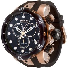 NEW Invicta Men's 5733 Reserve Collection Rose Gold-Tone Chronograph Watch Black