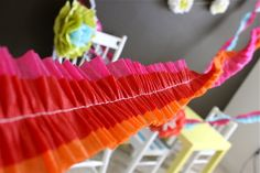 TUTORIAL: Ruffled Streamers | MADE  Not sure if I have time to try this project, but it sure is cute and inexpensive!