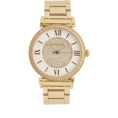 Michael Kors Catlin MK3332 Watch ($300) ❤ liked on Polyvore featuring jewelry, watches, accessories, bracelets, relógios, gold, steel jewelry, white dial watches, bracelet watches and steel watches