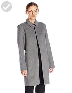 Calvin Klein Women's Long Open Jacket with Collar, Tin, Large - All about women (*Amazon Partner-Link)