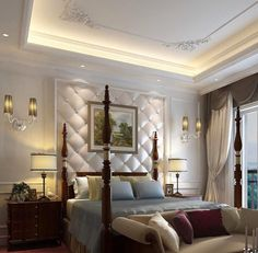 Tray ceiling with moldings