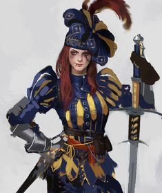 f Bard Ranger multi-class Med Armor Greatsword Traveler female Fantasy Character Design, Character Concept, Character Art, Concept Art, Dnd Characters, Fantasy Characters, Female Characters, Fantasy Armor, Medieval Fantasy