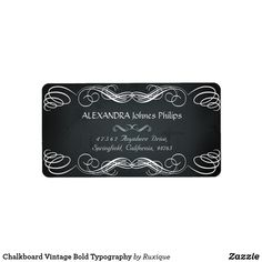 Shop Chalkboard Vintage Bold Typography Label created by Ruxique.