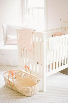 Soft peach vintage girl's nursery by Well Worn Co. | 100 Layer Cakelet #peach #nursery #modern.  Spotted my niece's nursery!  @janehartm :)))))))))