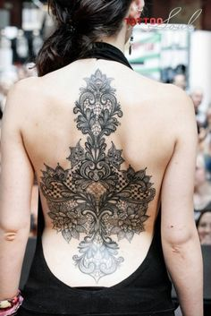Back piece lace embroidery tattoo ornamental