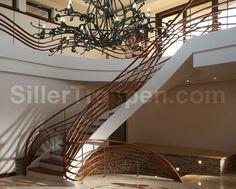 classic wood stairs, custom railing design http://www.sillertreppen.com/en/siller-stairs/