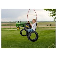 biclycle swing from used tires -- 20 Ideas of How To Reuse And Recycle Old Tires Tire Craft, Drum Craft, Diy Jardin, Swing Set Accessories, Tractor Tire, Red Tractor, Playground Set, Recycling, Tire Swings