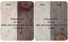 DIY Decorating - Staining Wood with Vinegar. White vinegar or apple cider vinegar- two different colors.