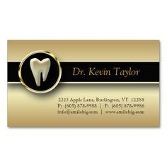 Dental Molar Business Card Gold Metallic. This is a fully customizable business card and available on several paper types for your needs. You can upload your own image or use the image as is. Just click this template to get started!
