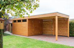 Design Gartenhaus aus Lärchenholz mit einem Vordach