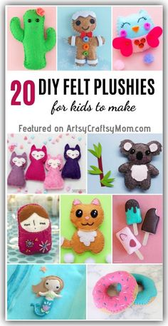 These Adorable DIY Felt Plushies are perfect for sewing beginners and even kids can make them! They also make great gifts for birthdays or any occasion! projects for kids Felt Crafts Kids, Felt Kids, Crafts With Felt, Clay Crafts, Diy Gifts For Kids, Diy For Kids, Diy Dolls For Toddlers, Beginner Felting, Sewing Projects For Beginners
