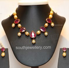 Ruby and South Sea Pearls Necklace - Indian Jewellery Designs South Jewellery