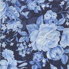Fabriquilt Indigo Blue Rose Bouquet Blue