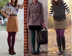 I really like the one at the end with the purple tights. I don't know how I feel about striped shirts, but paired with the khaki skirt and maybe a solid color cardigan, I think this would look really cute.